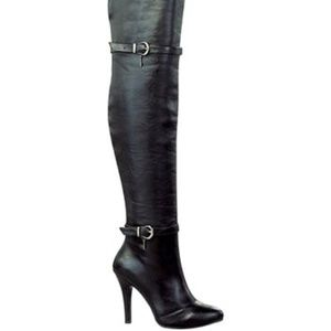 """Over-the-knee black """"leather"""" boots- sexy! sz 6.5"""